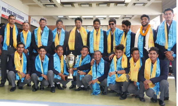 Victorious U-19 Nepali Cricket Team Returns Home